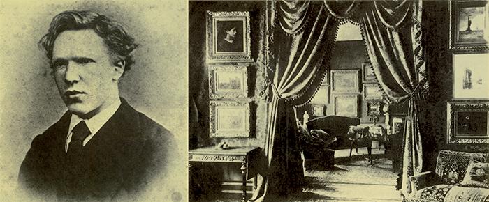 Vincent nel 1871, all'epoca in cui lavorava presso la Goupil. Nella foto accanto, le sale di vendita della filiale dell'Aja della società