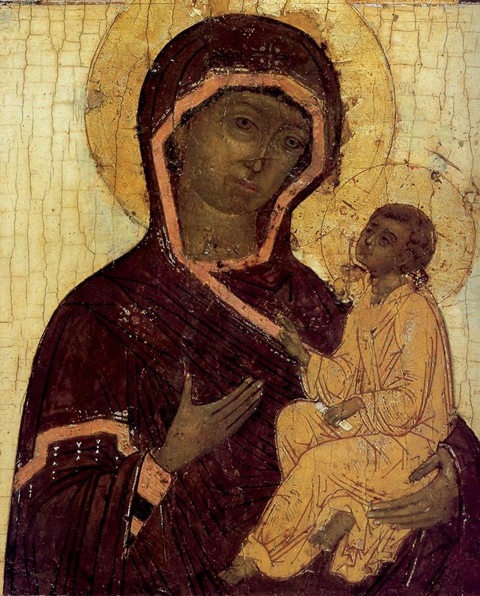 Madre di Dio di Tichvin, XVII secolo, particolare