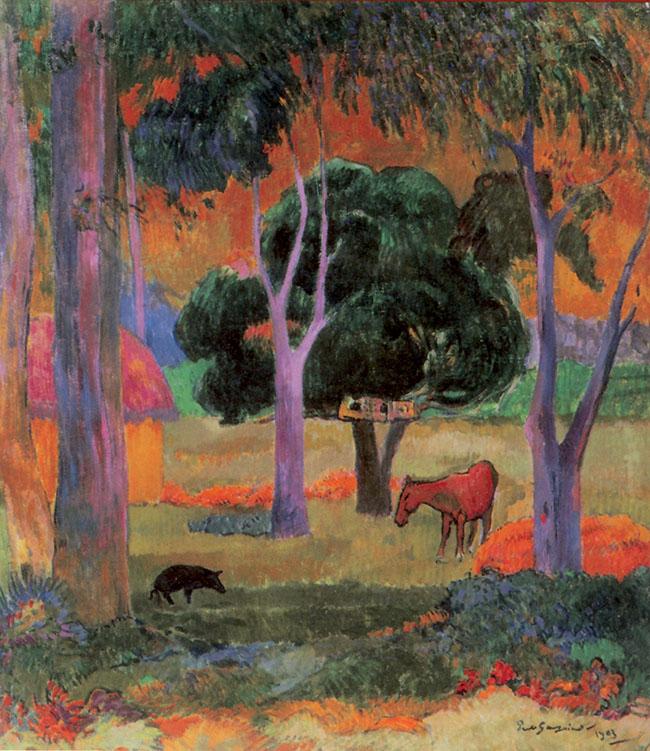 Paul Gauguin, Paesaggio con maiali e cavallo