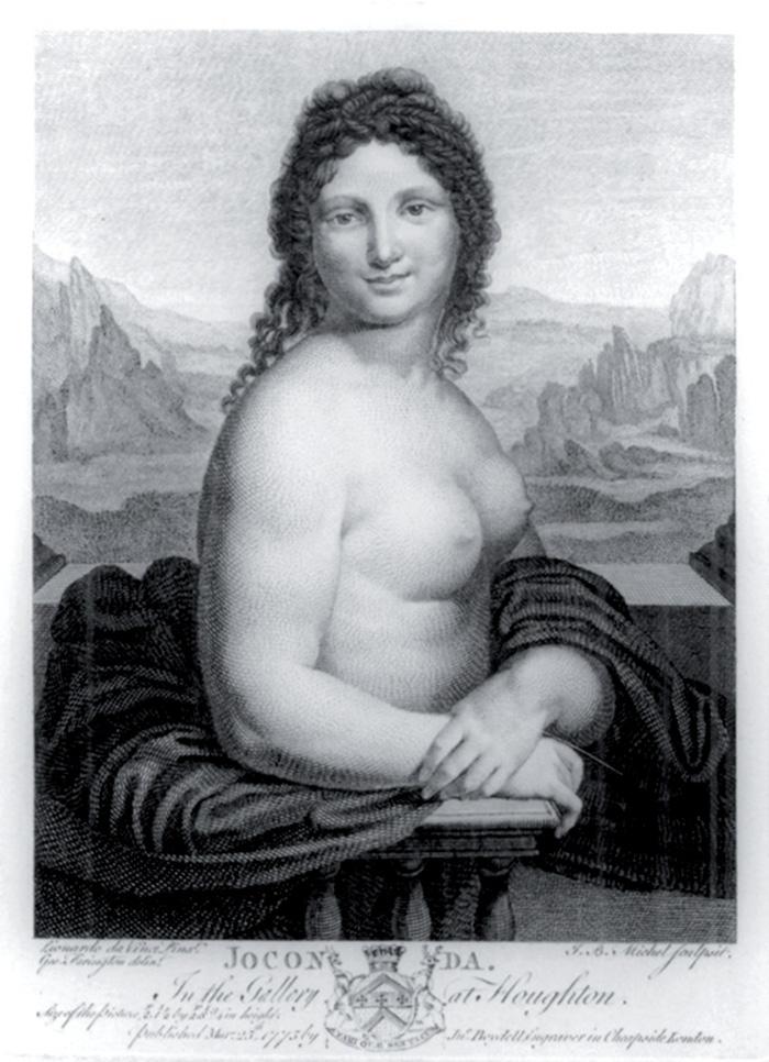 Gioconda nuda, incisione del 1775 da  un dipinto in passato attribuito a Leonardo