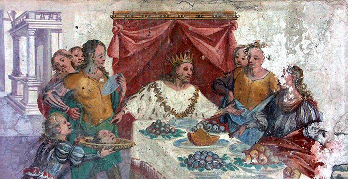 3. Astiage, re dei Medi, costringe il procuratore Arpago a mangiare la testa del proprio figlio. L'affresco, ispirato alle Storie di Erodoto, si trova in una sala del palazzo Ferrero Fieschi, a Masserano, nel Biellese.