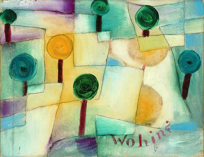 Paul Klee, Wohin? Junger Garten, 1920 Olio su carta, incollato su cartone, cm 23,5 x 29,5