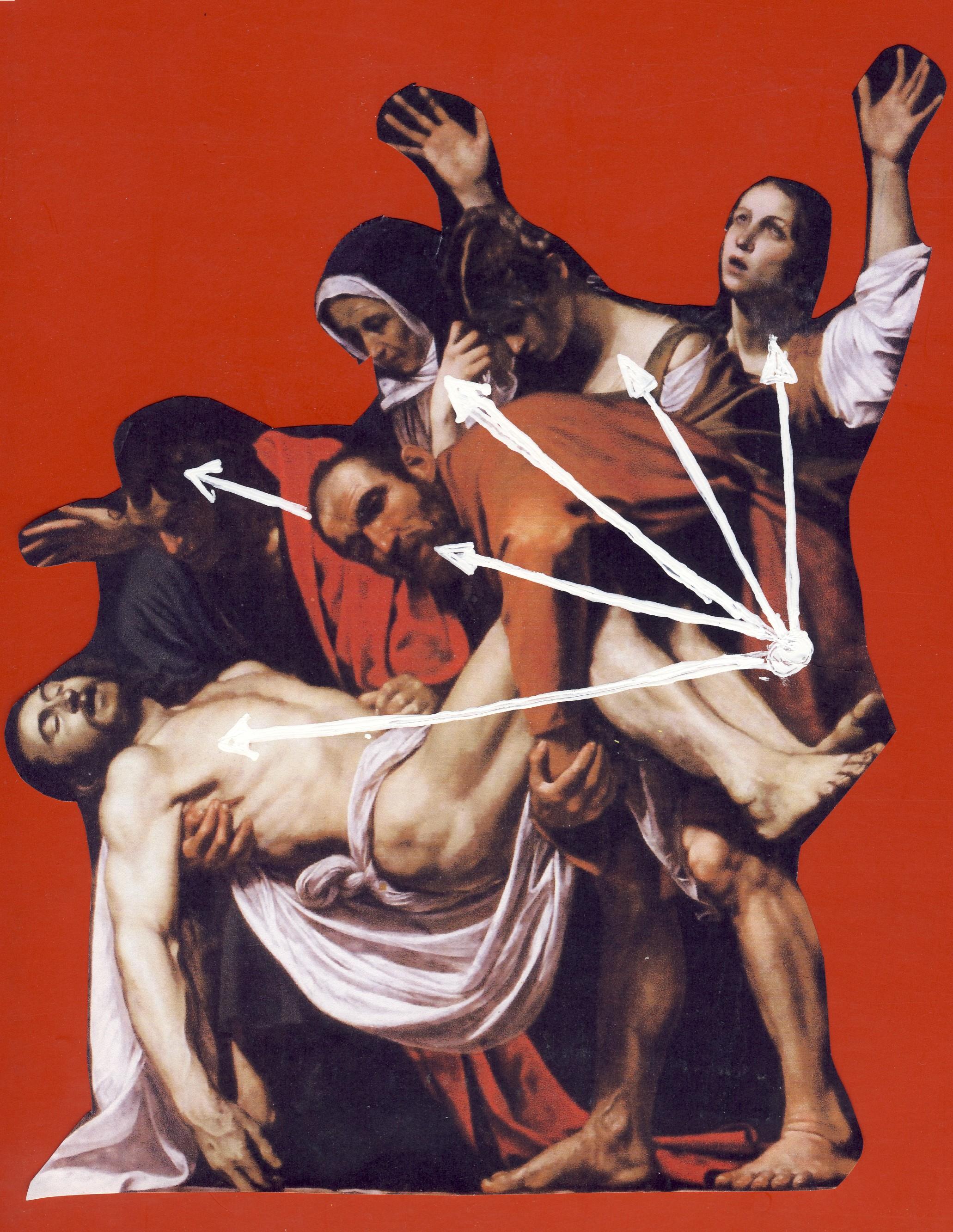 Caravaggio, La Deposizione di Cristo. In evidenza poniamo il senso del movimento ottenuto imperniando tutti i personaggi ad punto e trattandoli con l'effetto ventaglio che fa pensare a un movimento di piegamento dall'alto al basso