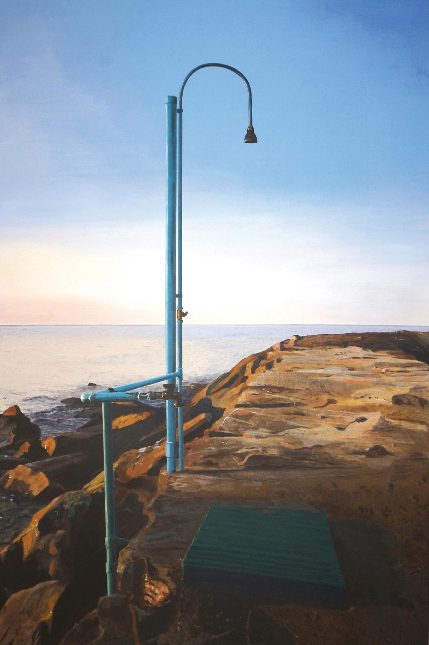 Andrea Ciresola, Paesaggio con doccia sul mare, 2011, acrilico su tavola di pioppo, cm 12x80. Opera con la quale Ciresola ha vinto il secondo premio sezione pittura over 25 al Premio Nocivelli