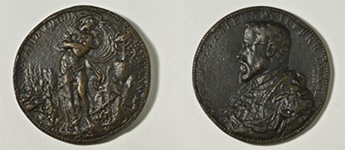 Pompeo Leoni (?, circa 1533 - Madrid, 1608) Medaglia ritratto del duca Ercole II d'Este 1554 Bronzo, fusione, diam. mm 65,5 Firenze, Museo Nazionale del Bargello