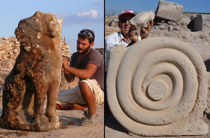 Le due sculture del cerbero e del serpente