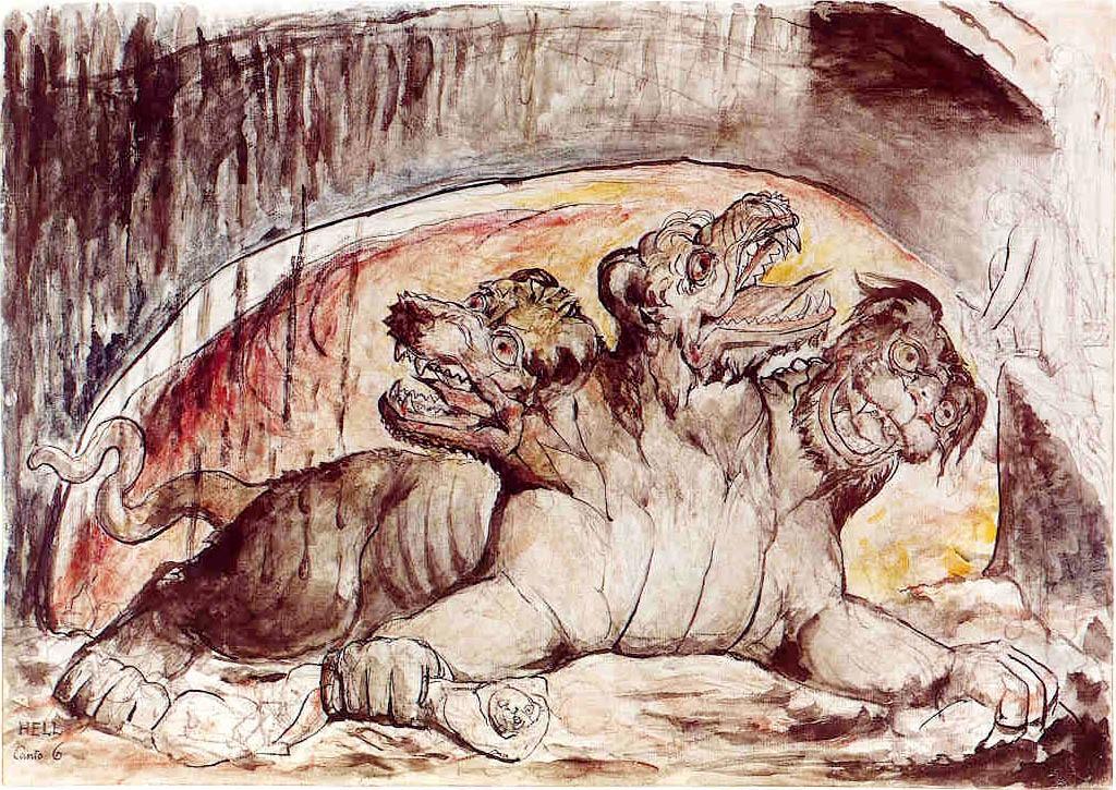 Il mostro cerbero secondo le illustrazioni di William Blake