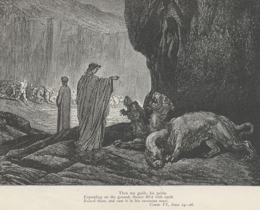 Illustrazione di Gustave Dorè relativa al canto VI dell'Inferno di Dante, raffigurante Dante che si rivolge a Cerbero e Virgilio che osserva dei dannati nel terzo cerchio dell'inferno, nel girone dei golosi