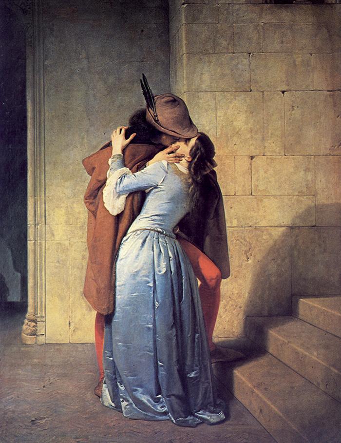 Francesco Hayez, Il Bacio. E' la prima versione del dipinto, oggi alla Pinacoteca di Brera