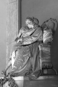 G.B. LOMBARDI, Monumento alla moglie Emilia Lombardi Filonardi, 1872-1875, marmo di Carrara, Roma, Cimitero Verano, quadriportico centrale