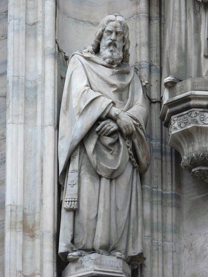 5. G. EMANUELI, S. Babila,1869,marmo di Candoglia, h.180 ca. cm