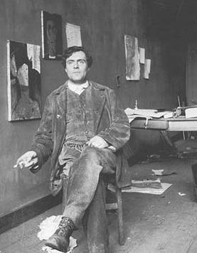 Modigliani nel suo studio
