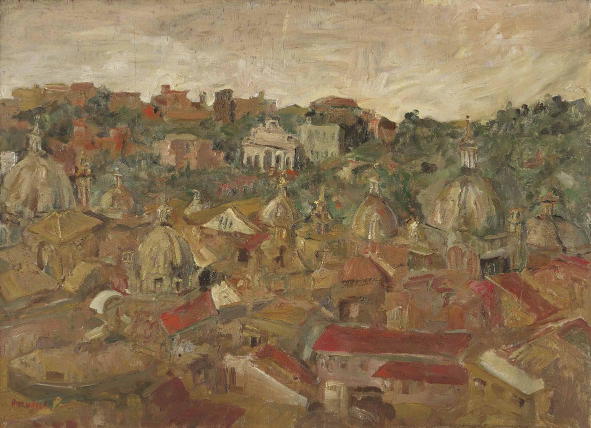 Fausto Pirandello: Tetti di Roma (Veduta di Villa Medici), 1944, Olio su tavola, 39 x 55 cm