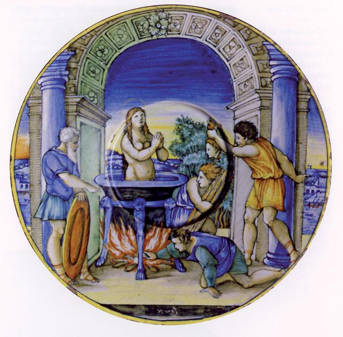 Anonimo, Martirio di santa Cecilia. In questo caso, a differenza dell'opera di Nicola da Urbino, un dettaglio è decontestualizzato e messo al centro del nuovo modello compositivo