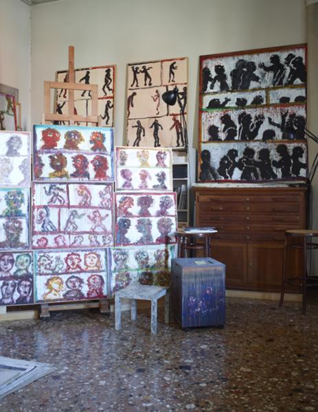 Interior shot at Ida Barbarigo's Studio In Palazzo Balbi-Valier, 2011 © Jean-Pierre Gabriel