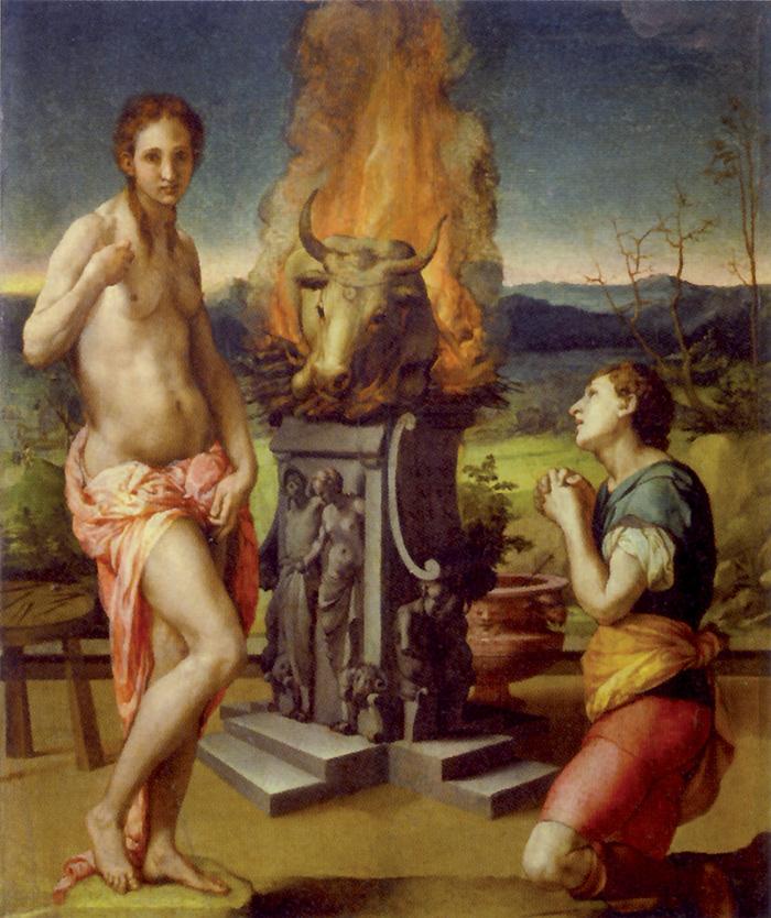 Agnolo Bronzino, Pigmalione e Galatea, 1529-30.  L'opera rinvia ai sacrifici che venivano compiuti,  anche alla luce dell'Asclepius  di Ermete Trismegisto, per conferire un'anima alle statue