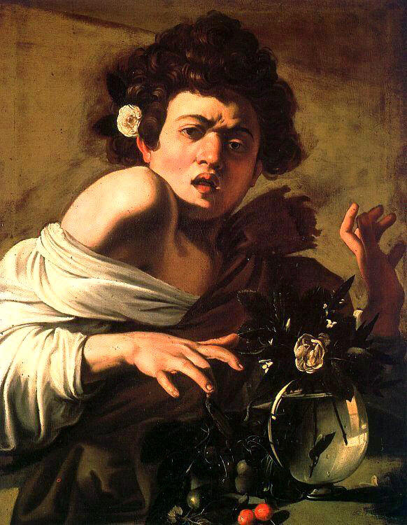 Caravaggio, Il ragazzo morso dal ramarro. Le vibrazioni cromatiche e la postura scelta dall'artista, mettono in modo nello spettatore i neuroni specchio che creano la sensazione di movimento del soggetto