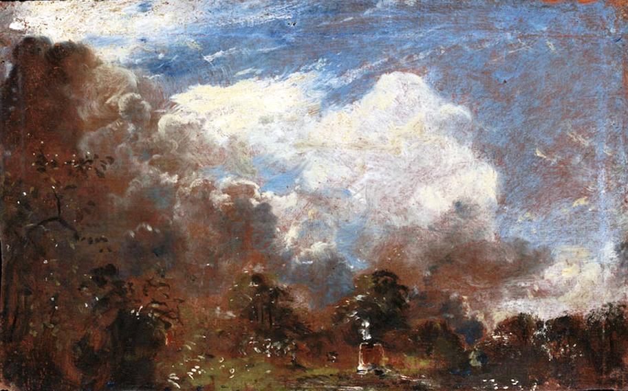 Uno splendido paesaggio con nubi, sul verso del quadro, pubblicato qui sopra. Constable lo realizzò su un cartoncino, che mise poi al contrario, compe protezione, nella parte posteriore della tela