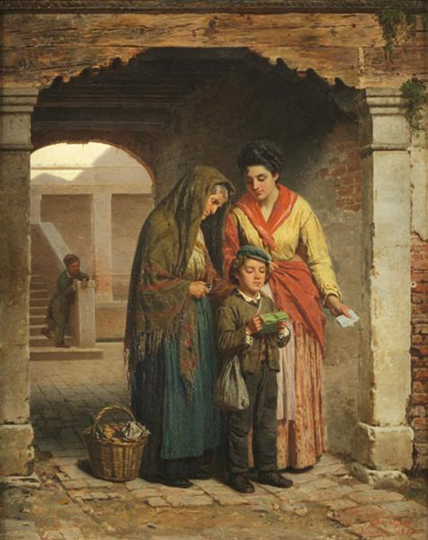 Luigi Da Rios, Le analfabete, 1873, Olio su tela, 39x30 cm ,Collezione Famiglia Da Rios