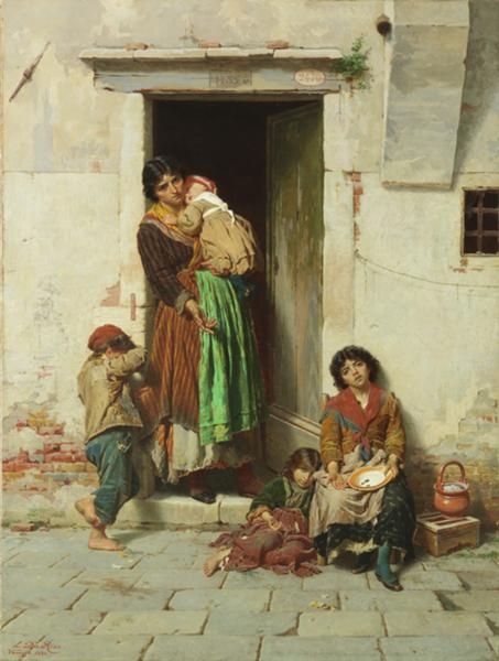 Luigi Da Rios, Le orfanelle, 1880, Olio su tela, 70x53 cm ,Collezione Famiglia Da Rios