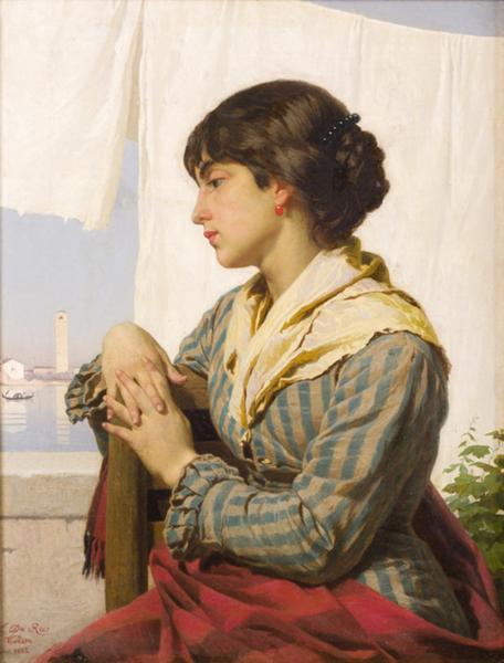 Luigi Da Rios, Panni stesi, 1882 Olio su tela, 54x42 cm, Collezione Famiglia Da Rios