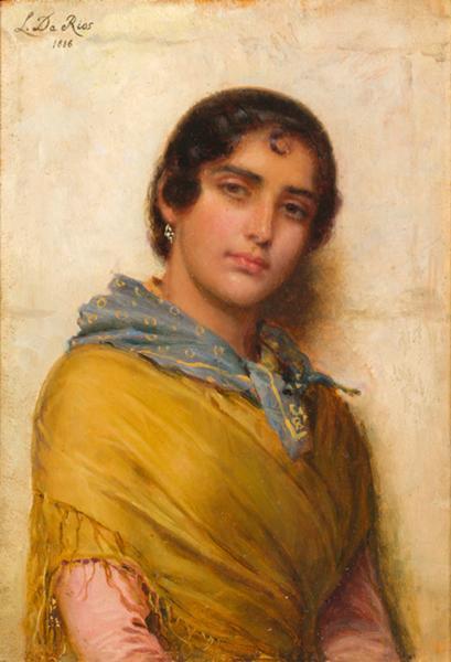 Luigi Da Rios, Popolana veneziana, 1886 Olio su tavola, 29x20 cm, Collezione Famiglia Da Rios