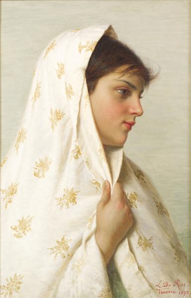 Luigi Da Rios, Ragazza con scialle, 1890, Olio su tela, 48x31 cm, Collezione Famiglia Da Rios