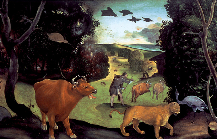 Piero di Cosimo, Incendio nella foresta, particolare