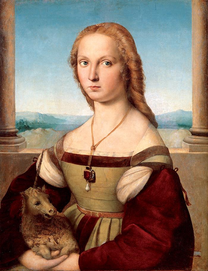 Raffaello, La dama dall'unicorno, tradizionalmente ritenuto un possibile ritratto di Giulia Farnese