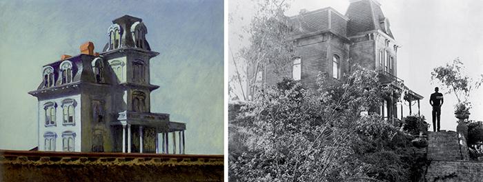 Edward Hopper, House by the Railroad. A fianco: La casa di Psyco. Hitchcock si ispirò all'edificio rappresentato da Hopper nel suo celebre quadro