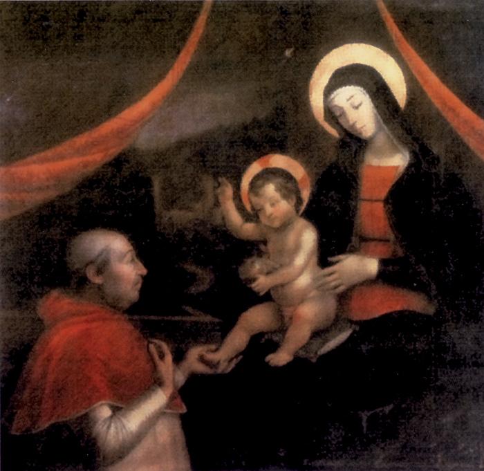 Pietro Fachetti, copia del 1612 dell'affresco del Pintoricchio con la Vergine, il Bambino e papa Alessandro VI