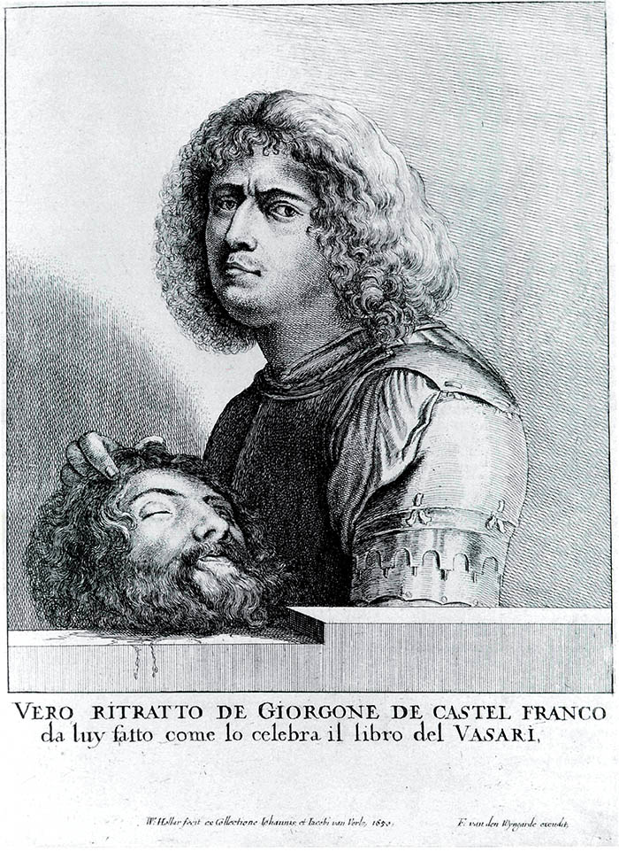 4.  Wenceslaus Hollar (da Giorgione), Autoritratto di Giorgione in veste di David, incisione