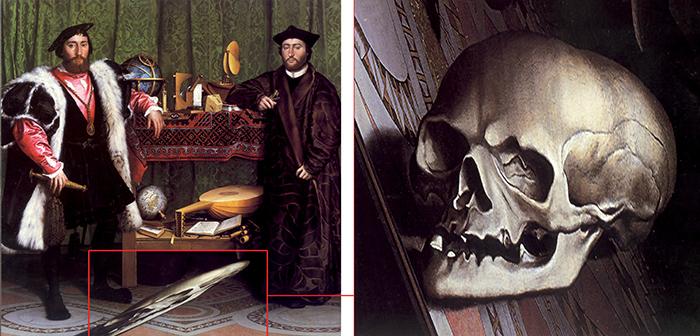 """Hans Holbein, Gli ambasciatori. Il """"fantasma"""" in primo piano, forma all'apparenza indecifrabile, se analizzato dalla giusta posizione, e cioè avvicinandosi sul lato sinistro per osservare da una prospettiva fortemente obliqua, diventa un teschio di straordinario realismo"""