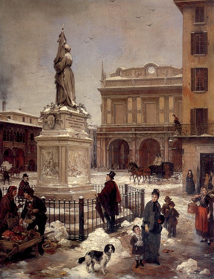 Angelo Inganni, Brescia, veduta di piazza della Loggia sotto la neve