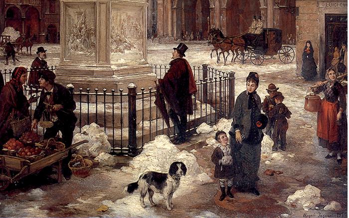 Angelo Inganni, Brescia, veduta di piazza della Loggia sotto la neve, particolare