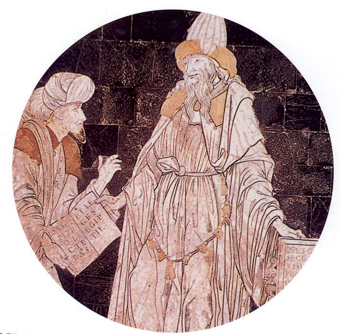 """Ermete Trismegisto, misterioso autore del Corpus hermeticum, aveva indicato le modalità per la produzione di statue che si """"animassero"""" fino a diventare divinità. L'immagine si riferisce a un inserto marmoreo del 1488 presente nel Duomo di Siena. Ermete, per un certo periodo, fu considerato un profeta perché aveva previsto la fine della religione egizia e l'avvento del figlio di Dio"""