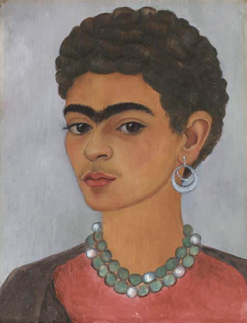 Frida Kahlo, (Messico 1910-1954), Autoritratto con i capelli ricci, olio su stagno (18,3 x 14,6 cm.) dipinta nel 1935 e messa all'asta da Christye's