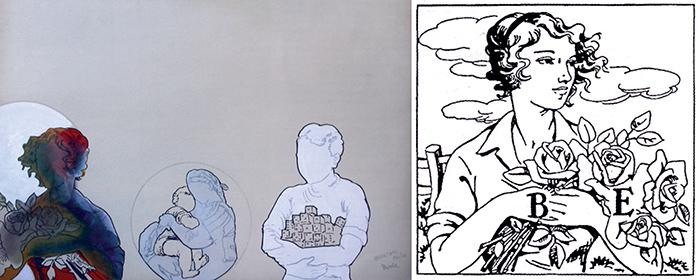 Renato Mambor, Abbracciare, smalto su cartone, 1965-66. L'opera attinge al rebus di Piero Bartezzaghi illustrato da Maria Ghezzi e pubblicato su La Settimana Enigmistica nel 1952 (soluzione: B ambo le mani; E rose = Bambole manierose) Per gentile concessione  de La Settimana Enigmistica -  Copyright riservato