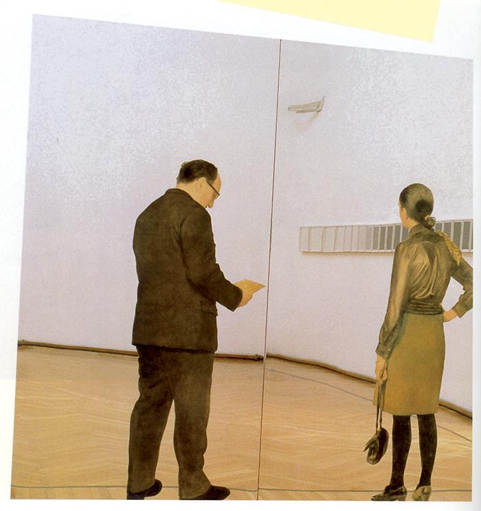 Michelangelo Pistoletto,  I visitatori, lastre metalliche specchianti, 1968