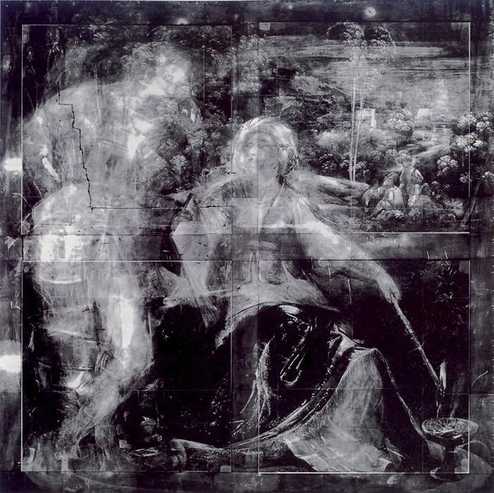 La radiografia della Melissa mostra la presenza di una figura maschile, poi coperta dal pittore. L'uomo potrebbe essere il Duca d'Inghilterra, uno dei personaggi dell'Orlando furioso di Ariosto salvati dalla maga. Dosso Dossi si pentì della scelta di questo istante narrativo, eliminando tale personaggio e puntando sul rito misterioso di Melissa e sulla raffigurazione di cavalieri ancora prigionieri dell'incantesimo di Alcina, attraverso il quale erano stati trasformati in animali