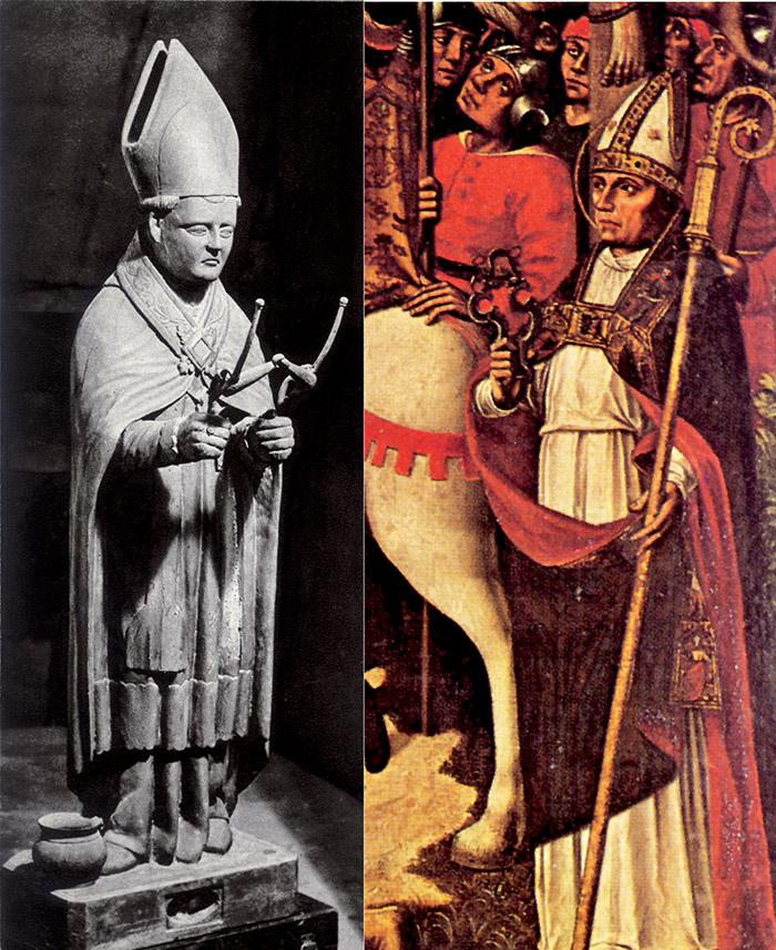 La statua di san Siffrein vescovo nella chiesa di Venasque. A fianco: La raffigurazione di Siffrein in un dipinto del 1498 di artista anonimo