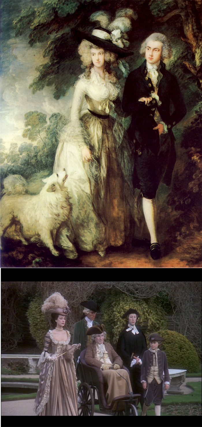 Un frame da Barry Lyndon. Sopra: Thomas Gainsborough, La passeggiata del mattino