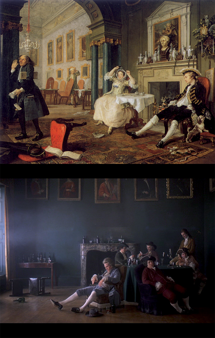 Frame da Barry Lyndon. Sopra: William Hogarth, Il matrimonio alla moda. La mattina