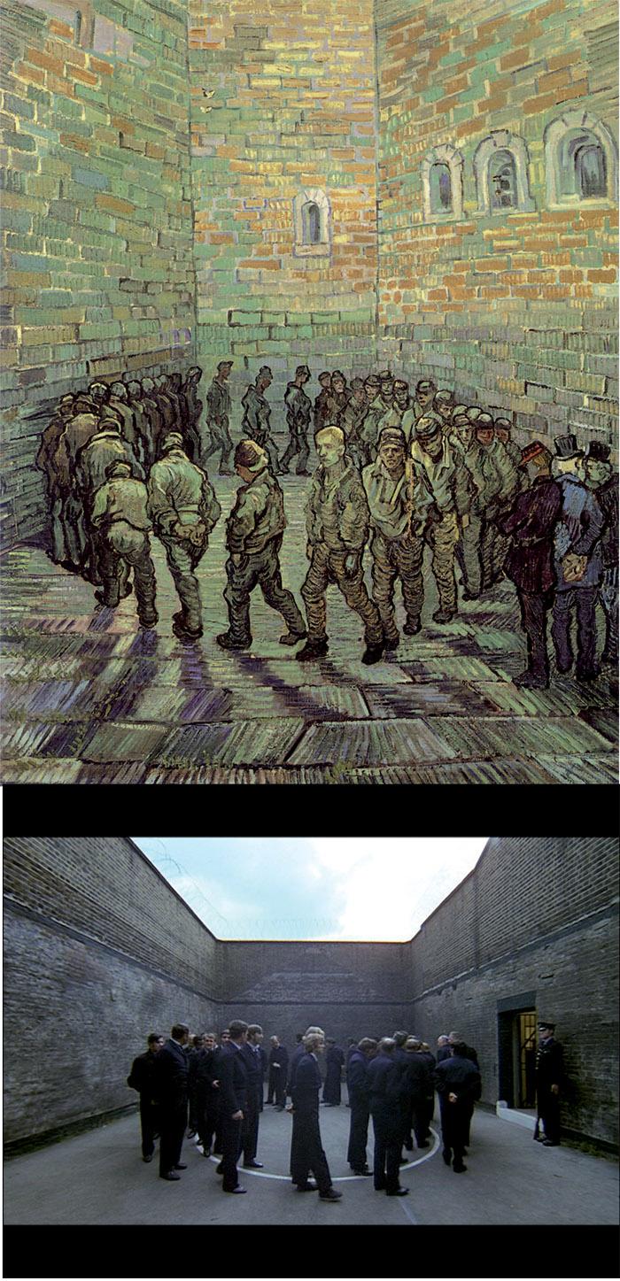 Frame da Arancia meccanica. Sopra: Vincent van Gogh, La ronda dei carcerati