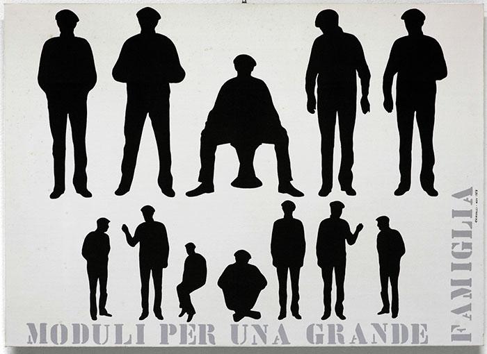 """Gianfranco Chiavacci, Cartone telato - """"Moduli per una grande famiglia"""". Sul """"la combinatoria e la Grande famiglia"""", 1979"""