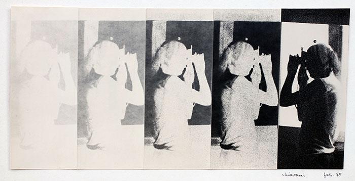Gianfranco Chiavacci, Collage fotografico, cinque stampe ai sali d'argento su cartoncino, 1978