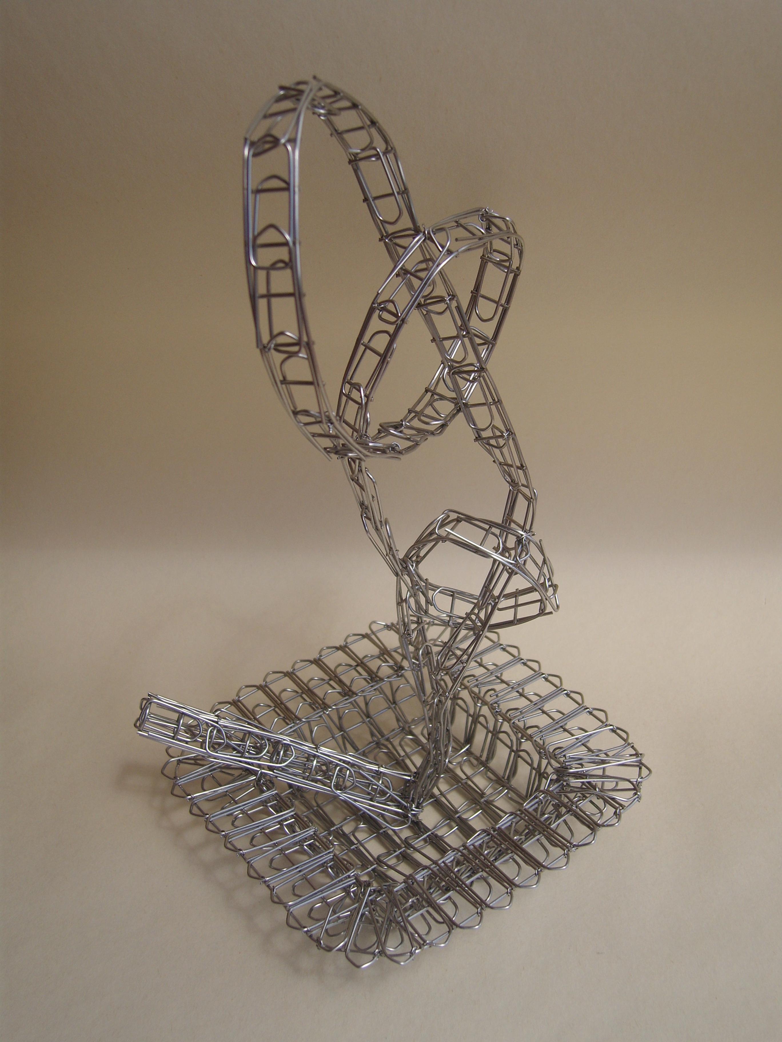 Pietro D'Angelo, L'ultima sigaretta/The last cigarette, 2013, assemblaggio, rete acciaio e graffette in acciaio, cm. 30 x 15 x 15