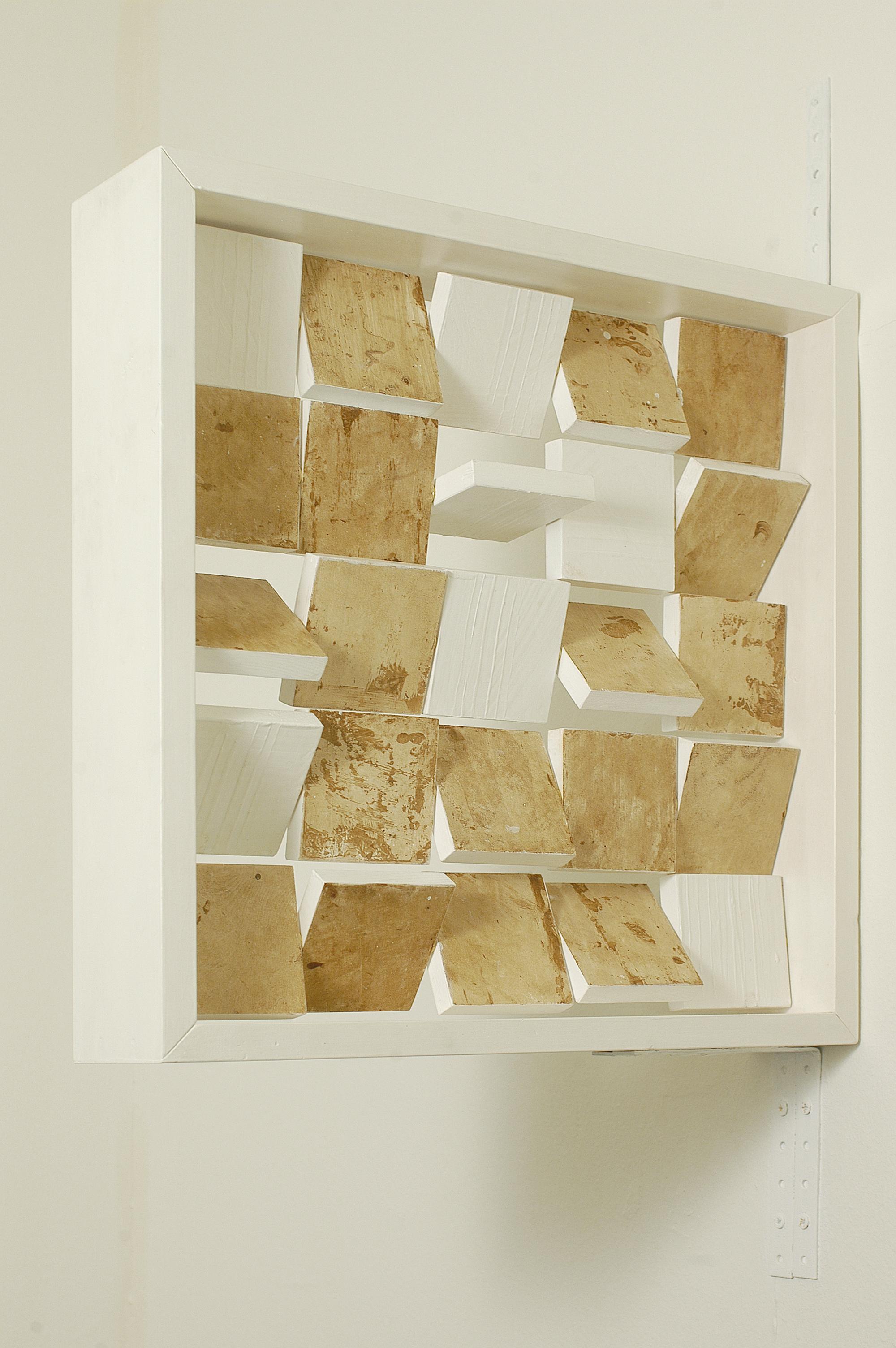 Camilla Franzoni - categoria over 25, Multiquattro #0, 2012, olio su tasselli in legno mobili, inseriti in barre metalliche a sezione circolare, all'interno di una struttura lignea autoportante, cm. 50 x 50