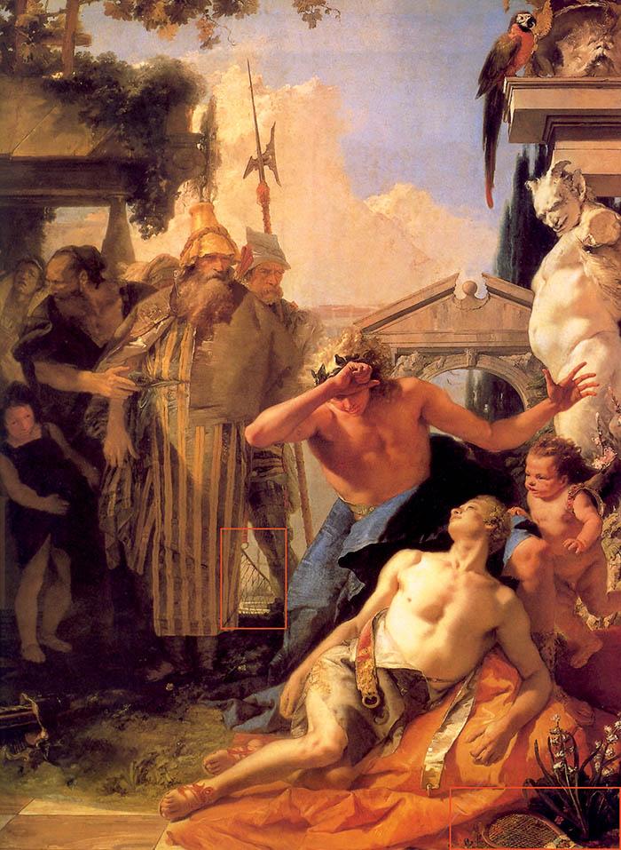 Giambattista Tiepolo, La morte di Giacinto. Nei riquadri, la racchetta e la rete.