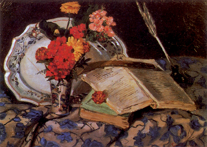 Guillaumin, Natura morta: fiori, porcellana, libri, 1872